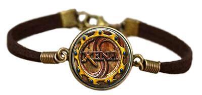 Xena Warrior Princess Glass Domed Logo Leather Cord Bracelet