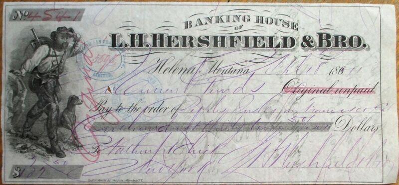 Helena, MT Montana LARGE 1871 Engraved Check - LH Hershfield - Mining Vignette