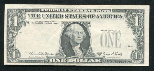 "1969-D $1 FRN FEDERAL RESERVE NOTE RICHMOND, CA ""OVERPRINT ON BACK ERROR"" AU"