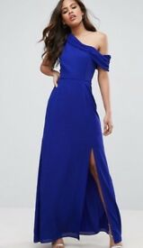 NWT John Zack London Royal Blue Off Shoulder Dress Evening Gown Xmas New Year Party