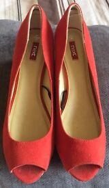 NEXT ladies Red Corked Heel Shoe Size 6.5