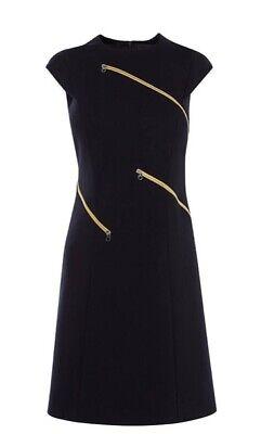 Karen Millen Ponte Zipper Navy Zip Dress, Size 10, perfect condition