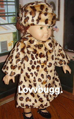 "Lovvbugg Leopard Animal Fur Coat n Hat for 18"" American Girl Doll Clothes"