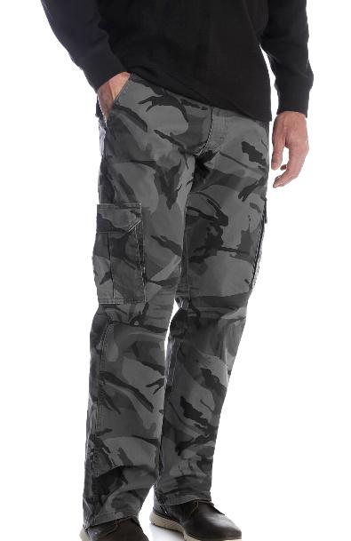 Men's Wrangler Camo Flex Cargo Pants Relaxed Fit w/ Tech Poc