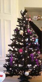 6.5ft Black Christmas Tree with Baubles