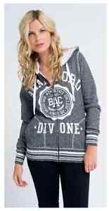 Womens All About Eve Bradford zip thru fleece Hoody style zip up jumper $80rrp