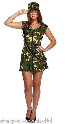 Ladies Sexy Army Girl Military Hen Do Fancy Dress Costume Outfit STD & Plus Size (Army Girl Kostüm Plus Size)
