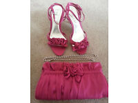 Cerise shoes size 5 and matching bag from BHS