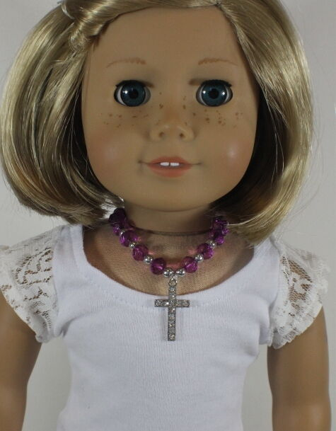 "Lovvbugg Purple Beads Cross Necklace Jewelry for 18"" American Girl Doll Accessory"