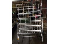 LARGE FREESTANDING CARD DISPLAY STAND - USED. GREAT FOR CRAFT FAIRS ETC. FOLDS FOR EASY STORAGE