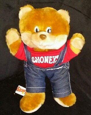 1986 Shoney's Restaurant Advertising  Plush Bear Red Shirt Blue Jeans Overalls