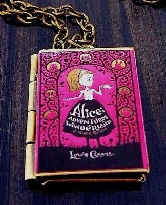 Alice's Adventures in Wonderland Pink Book Charm LOCKET Necklace FREE GIFT - Pink Gifts
