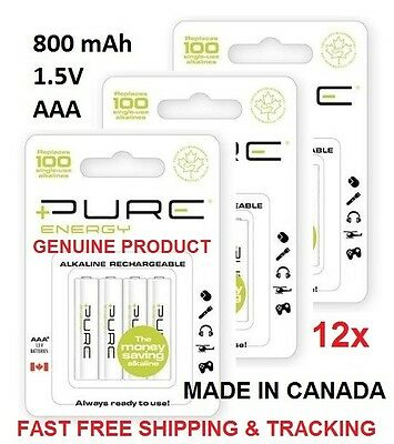 12x Pure Energy Alkaline Rechargeable 1.5V 800mAh AAA Batteries + 3 free - Pure Energy Battery