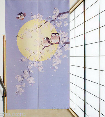 Lovely Owls Moon Sakura House Door Decor Curtain Japanese Noren Doorway Curtain