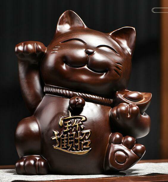 [MINT] Maneki-Neko Japanese Beckoning cat Wood Carving Fortune Ornament Rare