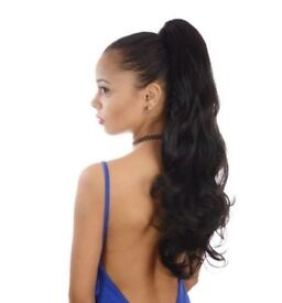 Brand New Dark Brown Wavy Long Ponytail Hair Extension - Whitefield