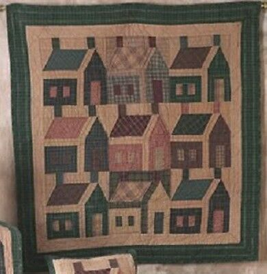 Schoolhouse Quilt Wall Hanging Table Topper 43x43 Tea Dyed By Choices Quilts