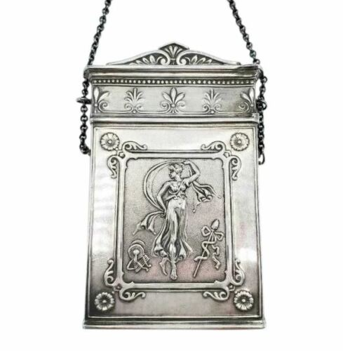 "Antique Coin Silver Card Case ""Lucretia""  Neoclassical"