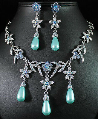 FLORAL BLUE AUSTRIAN RHINESTONE CRYSTAL PEARL BIB NECKLACE EARRINGS SET 01017B