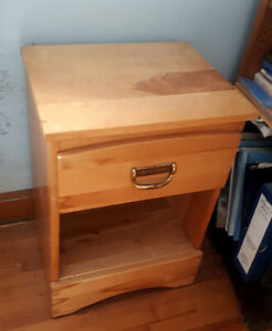 Solid Pine Bed Side Table with A Drawer