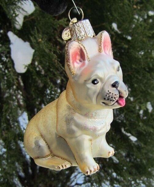Old World Christmas FRENCH BULLDOG Blown Glass Dog Breed Ornament