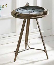 26.7 Tripod Nautical Table Clock - Ship Wheel Design w Roman Numberals