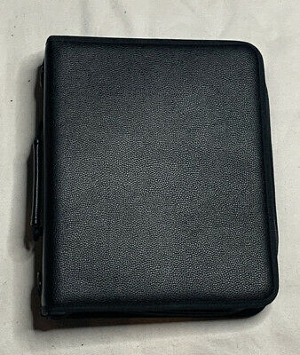 Black Leather 3-ring Zipper Binder With 3 Dividers