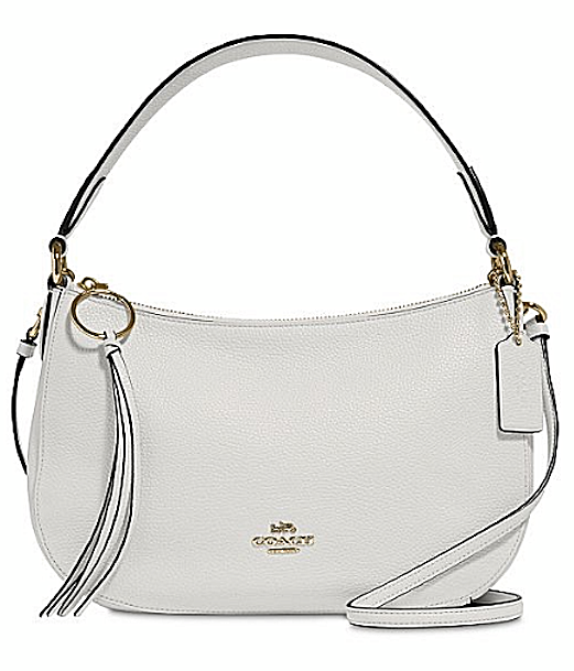 Coach Sutton in Polished Pebble Leather Chalk-Gold Crossbody Shoulder Bag