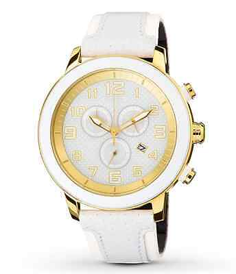NWT Citizen AT2232-08A Eco-Drive BRT 3.0 Chronograph White Leather Unisex Watch