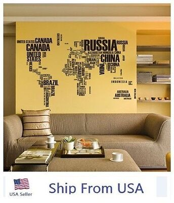 World Map Letter Quote Removable Vinyl Decal Art Home Decor Wall Stickers USA