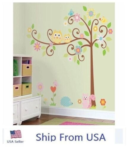 Owl Scroll Tree Wall Stickers Kids Nursery Room Removable St