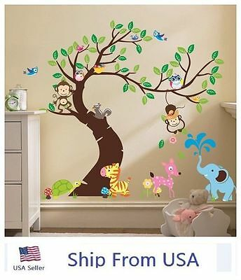 Jungle Animals Tree Monkey Owl Removable Wall Sticker Kids Room Decor Decal - Jungle Tree Decorations