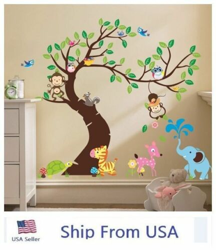 Jungle Animals Tree Monkey Owl Removable Wall Decal Stickers
