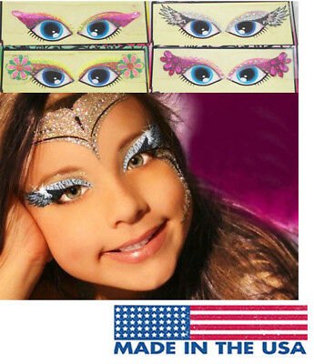 Girls Glitter Rhinestone Reusable Eye Makeup Kit Easy Stickers Costume Halloween