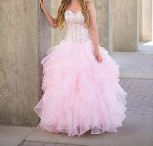 Pearl pink corset ball gown with sweetheart neckline.