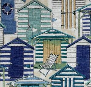 Outdoor/ Indoor ~Upholstery~ Beach Huts ~  Blues & Greens ~ Fabric ~1/4 yard
