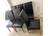 6 dark brown leather chairs, very good condition.