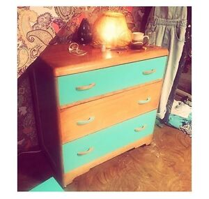 Dresser and Shelf- hand painted and recyled