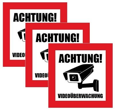 3x ACHTUNG! Videoüberwachung Aufkleber, Hinweis Warnaufkleber Kamera