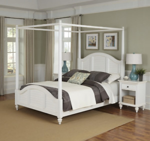 BERMUDA QUEEN SIZE WHITE CANOPY BED FRAME AND TWO NIGHT STANDS