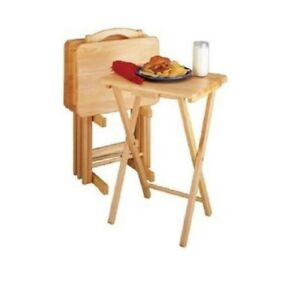 Tv Trays Table Set 5 Piece With Stand Wooden Portable Dinner Snack Cards