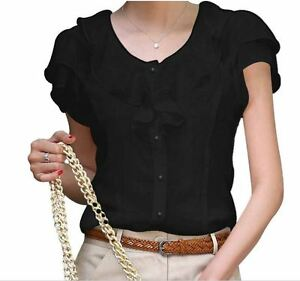 Women elegant slim fit ruffles OL blouse Top Shirt short sleeve solid S - XL