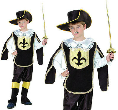 Childrens Kids 3 Three Musketeers Fancy Dress Costume Boys Outfit 3-10 Yrs](3 Musketeers Costume)