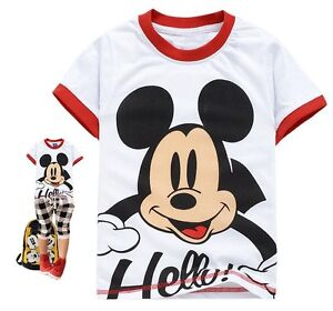 New-Kids-Boys-Girls-Funny-Mickey-Mouse-Short-Sleeve-T-Shirts-Tops-6-7-years-130