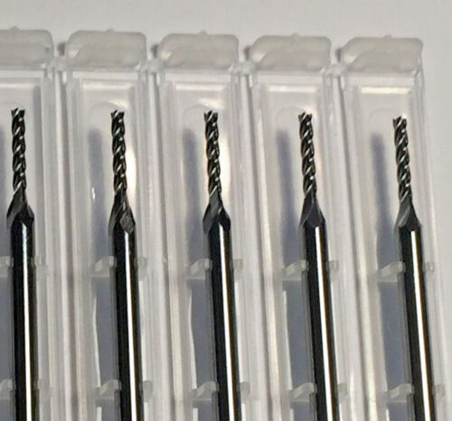 """1/16"""" Dia x 1/2"""" Cut 4 Flute Square Carbide End Mill Made In USA 5-Pack D19"""