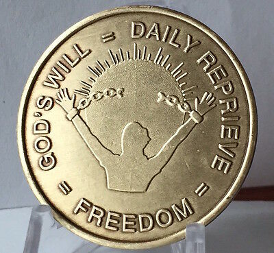 Gods Will Daily Reprieve AA Alcoholics Anonymous Sobriety Medallion Chip Bronze