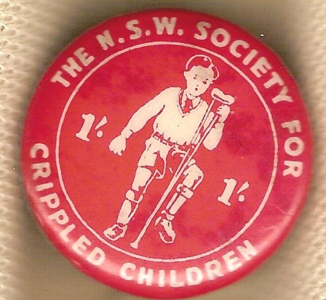 TIN BADGE - NSW SOCIETY FOR CRIPPLED CHILDREN, 1/-