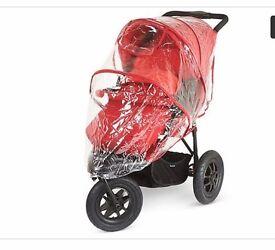 Pushchair Travel System. Red 3 wheel Pram with car seat.