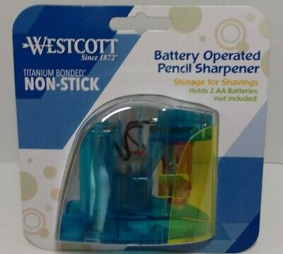 Battery Operated Pencil Sharpener Westcott Titanium Bonded Non-stick Brand New