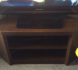 Dark wood corner tv stand